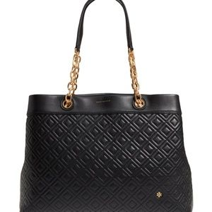 Tory Burch Fleming Triple Compartment Tote Black